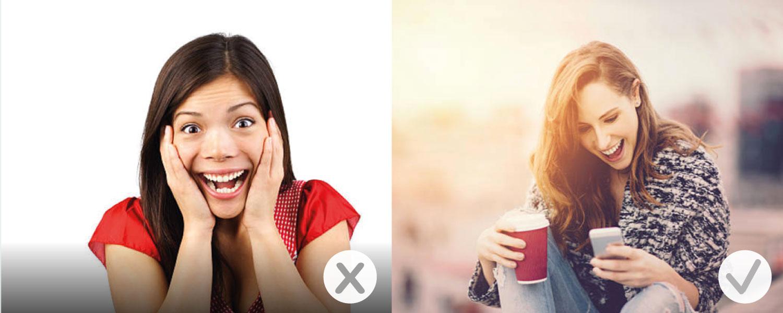 kies bij stockfoto's niet voor extreem geposeerde modellen
